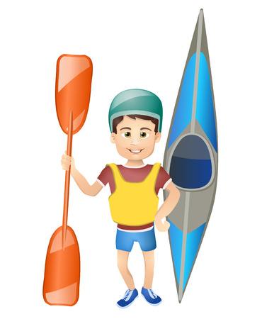sport cartoon: cartoon boy with a canoe.