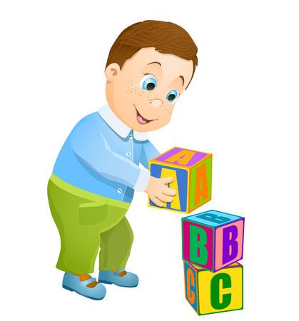 niño empujando: niño jugando con cubos alfabeto abc.
