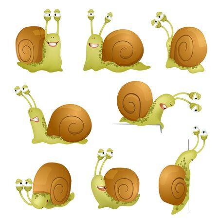 cartoon snail: set of cute cartoon snails.