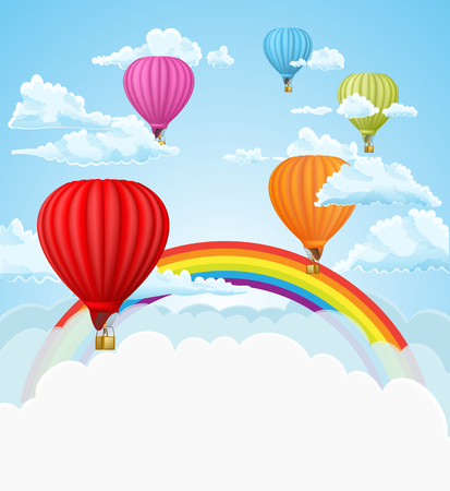 colored balloons: hot air balloons and rainbow in the clouds background. Illustration