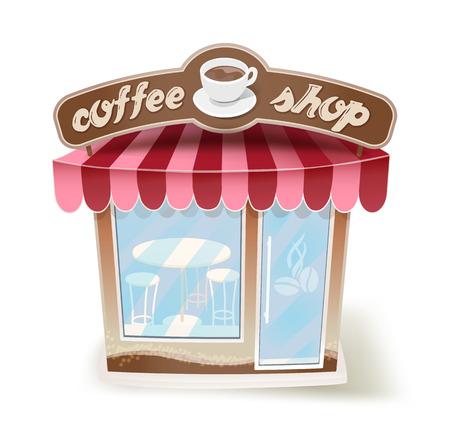 sidewalk sale: cartoon coffee shop on white