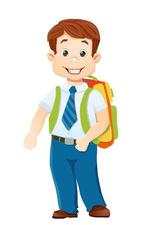 fullbody: smiling school boy with backpack on white.
