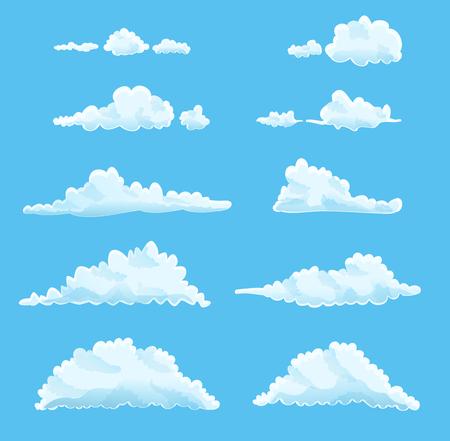 set of cartoon clouds on blue.