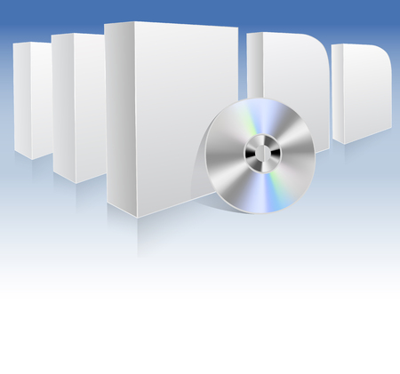 white boxes: background with white boxes and dvd.