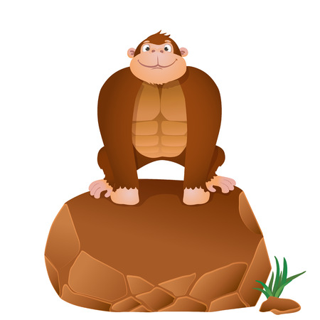 devious: cartoon gorilla sitting on a stone. Illustration
