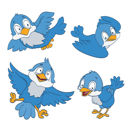 set of cartoon blue birds on white. vector Vectores