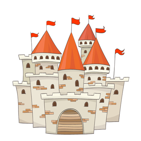 tower house: cute cartoon castle with flags. vector drawing