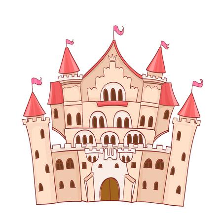 fairytale castle: cute cartoon fairytale castle. vector drawing