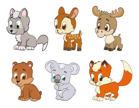 állatok: állítsa az erdei rajzfilm állatok. vektor Illusztráció