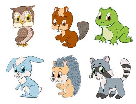 animales del bosque: conjunto de animales lindos forestales de dibujos animados. vector