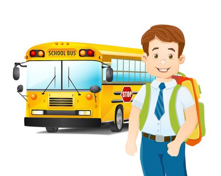 autobus escolar: ilustración de dibujos animados de colegial y autobús escolar. vector