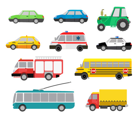 trolleybus: set of cartoon cute cars and special vehicles. vector illustration
