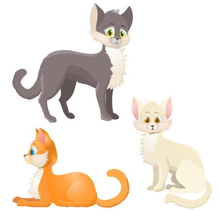 pussy hair: cartoon cats on white Illustration