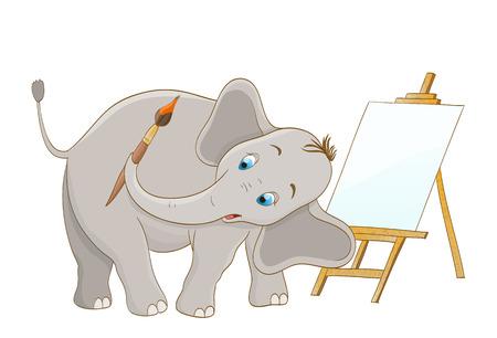 elefant: K�nstler Elefanten mit Pinsel und h�lzerne Staffelei. Vektor Illustration