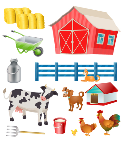 milking: vector farm items and animals Illustration