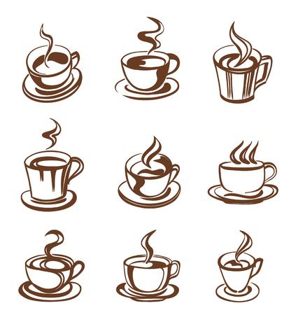 set koffiekopje in lijnstijl. vector Stock Illustratie