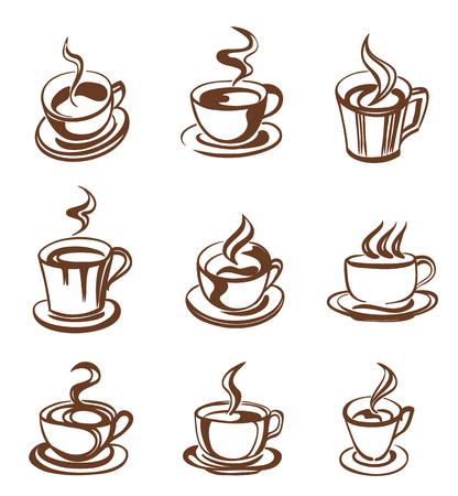 set of coffee cup in line-art style. vector 版權商用圖片 - 45223740