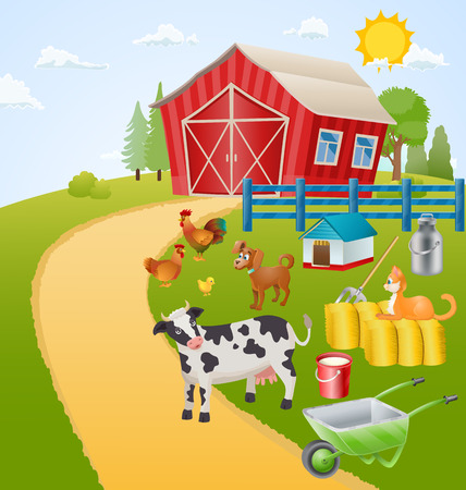 farm animals: farm illustration with animals, birds and items