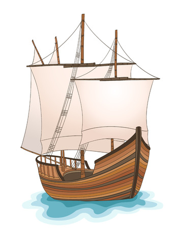 christopher columbus: wooden ship illustration. vector