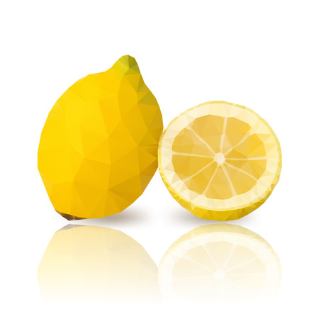 citric: lemons with vector polygonal design on white
