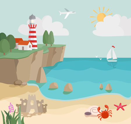 cartoon coast landscape, seascape with sand, waves, starfish,  crab, lighthouse and sailboat. vector