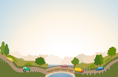 rural road: rural landscape with road and cars, river and bridge, trees and clouds. vector