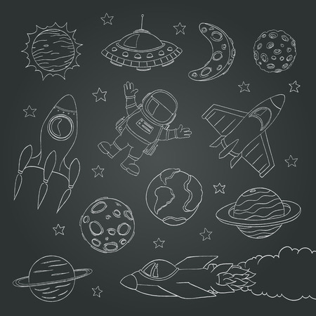 blackboard cartoon: set of cute outer space elements, astronaut, planets, rockets. chalk lines. vector illustration Illustration