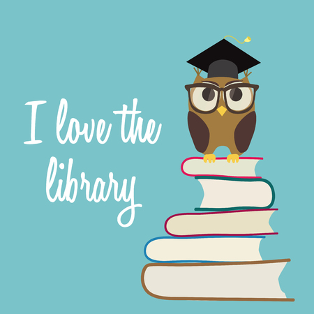 buho graduacion: b�ho lindo en lentes con graduaci�n de la tapa que se sienta en una pila de libros. Me encanta el fondo de la biblioteca. vector