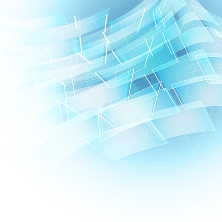 conceptual: abstract blue background with transparent lines and shapes. editable vector