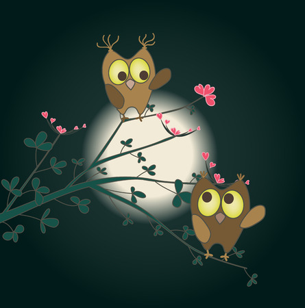 cute love: two cute owls in love on a twig with hearts as flowers. vector