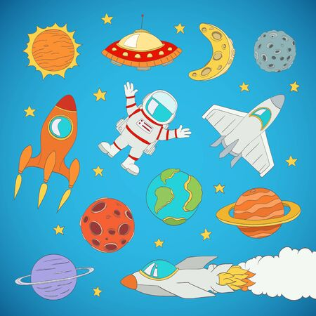 booster: set of cartoon cute outer space astronaut, planets, rockets. vector illustration Illustration