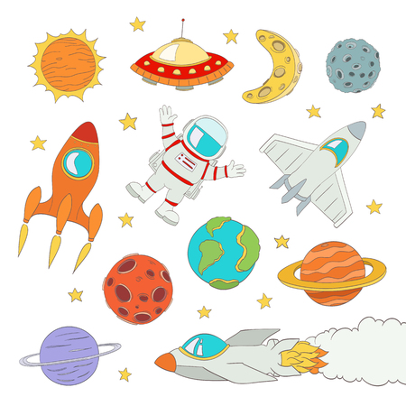 space cartoon: set of cute outer space elements, astronaut, planets, rockets. vector illustration Illustration