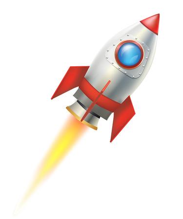 COHETES: de vuelo del cohete sobre fondo blanco. ilustración vectorial