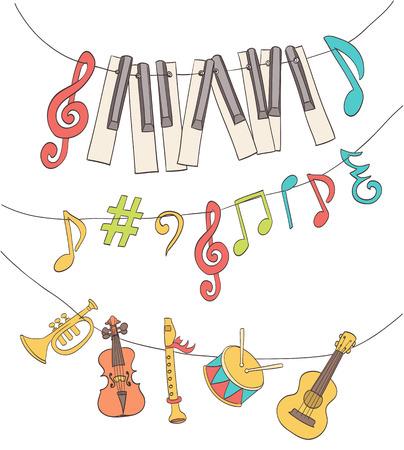 instruments de musique: mignon musicaux signes, notes, touches de piano, les enfants instruments pendus sur un bruant. vecteur de bande dessinée