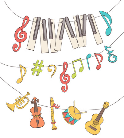 cute musical signs, notes, piano keys, children instruments hanged on a bunting. cartoon vector Illustration