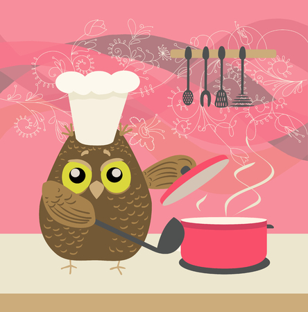 bawl: cute owl with a bawl cooking in the kitchen on decorative floral background