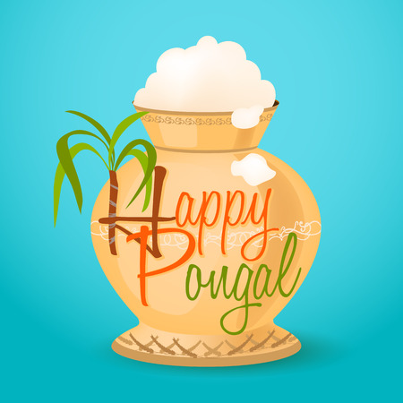 pongal: happy pongal greeting. vector illustration