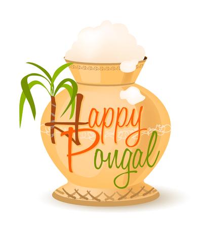 sugarcane: happy pongal symbol. vector illustration