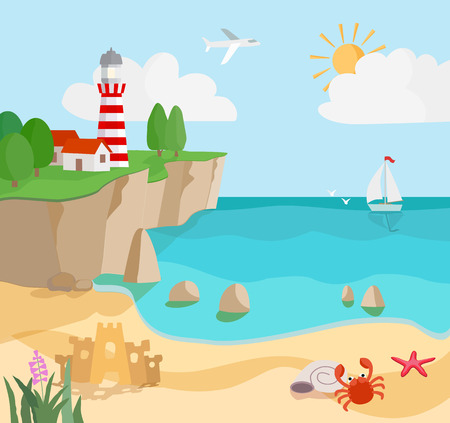 cartoon coast seascape with sand, waves, starfish,  crab, lighthouse and sailboat. vector