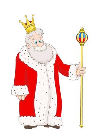 rey: de dibujos animados rey viejo lindo en capa roja Vectores
