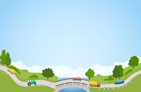 bridge illustration: landscape with road and cars, river and bridge, trees and clouds. vector