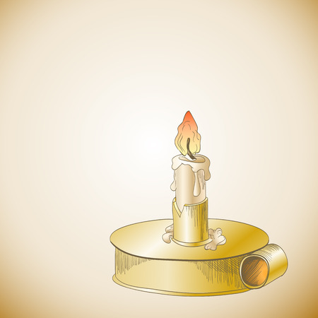 candlestick: Burning candle in metallic candlestick