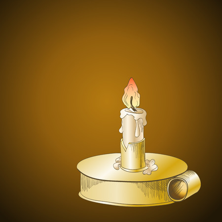 candlestick: Burning candle in metallic candlestick on brown background