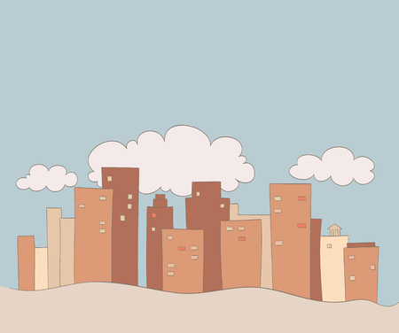 city with clouds drawing in comic book style
