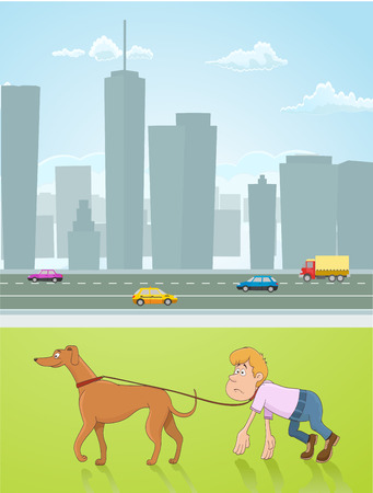 dog park: funny conceptual illustration of a boy lead by a dog. walking with dog as a obligation