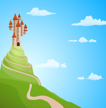 magical: castle on the hill with road background illustration. vector