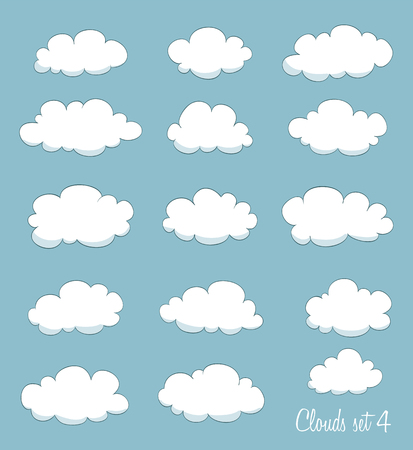 fluffy clouds: set of cartoon clouds. vector