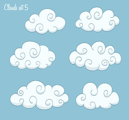 swirls vector: set of cute clouds with swirls. vector Illustration