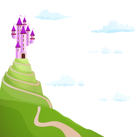 highness: purple castle on the hill with road. vector Illustration