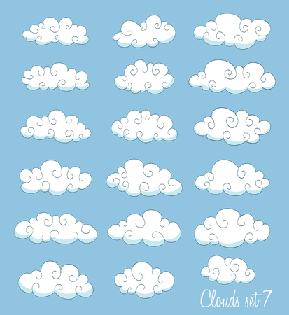 swirls vector: set of cute cartoon white clouds with swirls. vector